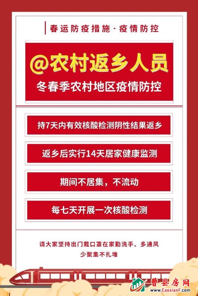 曹县返乡人员疫情防控明白纸