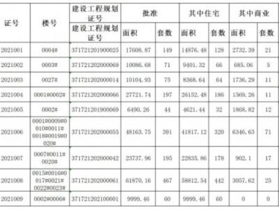 曹縣行政審批服務局商品房預售許可證(2021年1月)公示